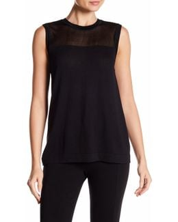 Sheer Yoke Sleeveless Sweater