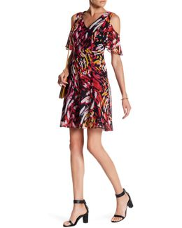 Abstract Pattern Ruffle Cold Shoulder Fit & Flare Dress
