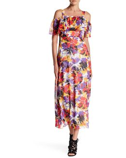 Ruffle Cold Shoulder Floral Pattern Dress
