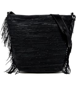 Marin Woven Leather Fringe Hobo Bag