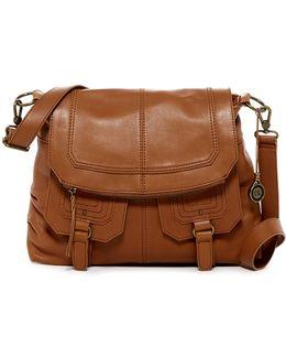 Carmel Leather Flap Crossbody