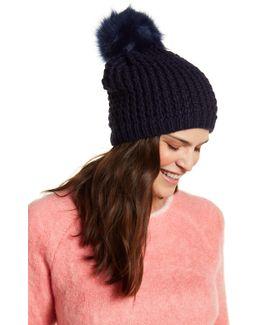 Fox Fur Pom Pom Knit Hat