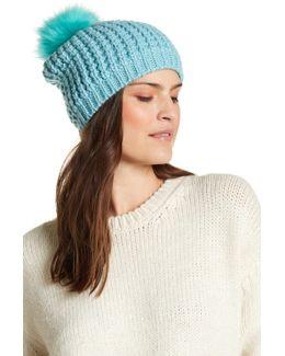 Faux Fur Pompom Wool Blend Classic Beanie