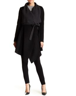 Mandi Draped Wool Blend Wrap Coat