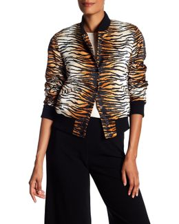 Lloyd Silk Animal-print Varsity Jacket