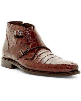 Genuine Crocodile Double Monk Boot