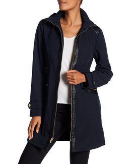 Center Zip Softshell Fleece Lined Water Repellent Jacket