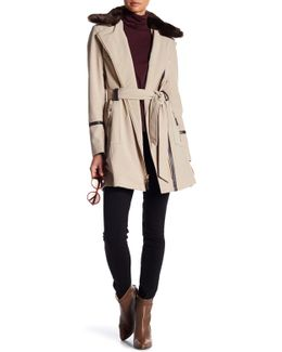 Detachable Faux Fur Trench Coat