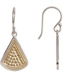 Two-tone Fan Drop Earrings