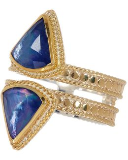 18k Gold Plated Sterling Silver Double Row Lapis Triplet Ring
