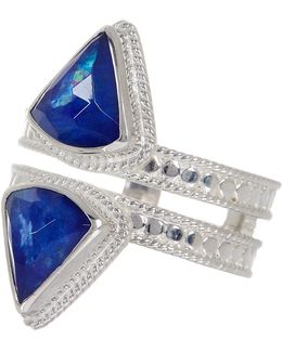 Sterling Silver Double Row Lapis Triplet Ring