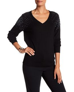 Lily Sequin V-neck Sweater