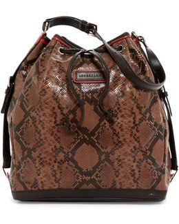 Snake Embossed Cuir Leather Drawstring Hobo