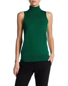 Ideal Sleeveless Turtleneck Wool Sweater
