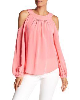 Consuelo Cold Shoulder Long Sleeve Silk Blouse