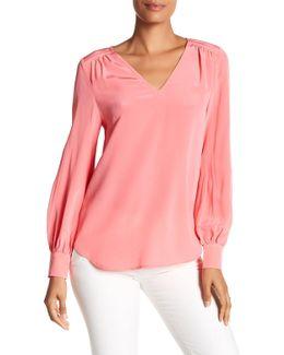 Giana V-neck Long Sleeve Silk Blouse