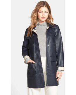 Faux Leather Car Coat