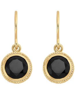 18k Gold Plated Sterling Silver Black Onyx Stone Button Drop Earrings