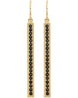 18k Gold Plated Sterling Silver Black Onyx Stone Pave Stick Drop Earrings