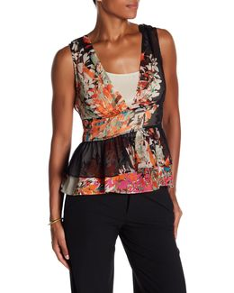 Floral Silk Tiered Peplum Top
