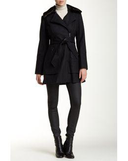 Faux Fur Collar Asymmetric Belted Wool Blend Coat