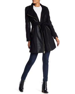 Faux Leather Panel Coat