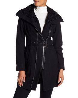 Faux Fur Belt Coat