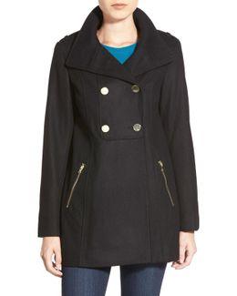 Double Breasted Wool Blend Swing Coat (petite)