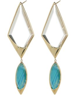 14k Gold Radiant Stacked Kite & Spike Drop Earrings