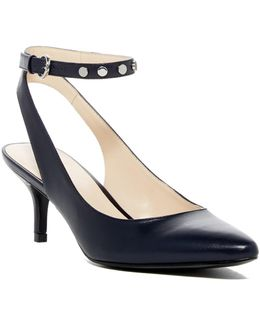 Pointed Toe Leather Studded Pump