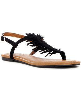 Cheryl Suede Fringe Flat Sandal