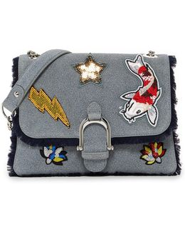 Asher Leather Patched Shoulder Bag