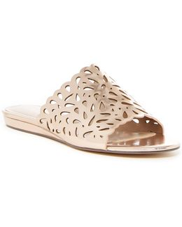 Model Perforated Wedge Slide Sandal