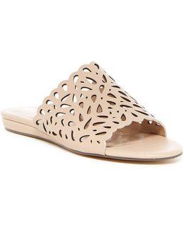 Model Perforated Wedge Slide Sandal