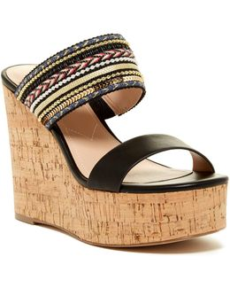 Devi Smooth Beaded Wedge Platform Sandal