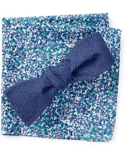 Kilborne Solid Bow Tie And Pocket Square Set