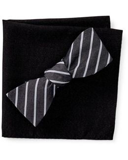 Thistle Stripe Bow Tie And Pocket Square Set