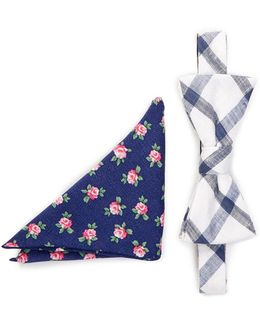 Merrick Grid Bow Tie & Pocket Square Set