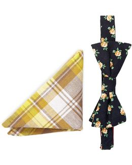 Emery Floral Bow Tie & Pocket Square Set