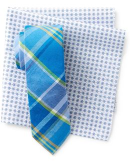 Morey Plaid Tie & Pocket Square Set
