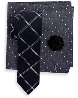 Charlotte Check Tie, Pocket Square, & Lapel Pin 3-piece Set