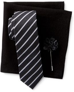 Thistle Stripe Tie, Pocket Square, & Lapel Stick Pin Set