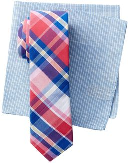 Clive Plaid Tie & Pocket Square 2-piece Set