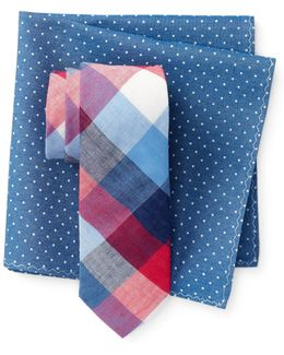 Nedra Check Tie & Pocket Square Set