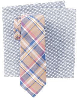 Derita Plaid Tie & Pocket Square Set