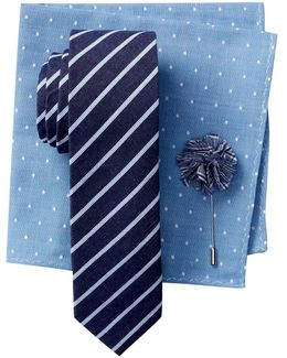 Thistle Stripe Tie, Pocket Square, & Lapel Pin 3-piece Set