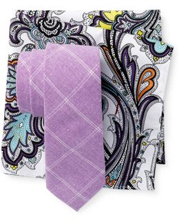 Charlotte Check Tie & Pocket Square Set