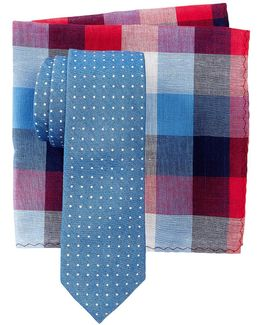 Blue Dot Tie & Pocket Square Set