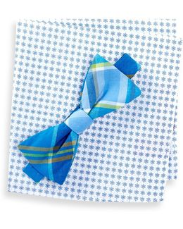 Morey Plaid Bow Tie & Pocket Square Set