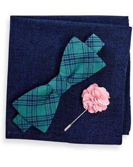 Reale Check Bow Tie, Pocket Square, & Lapel Pin Set